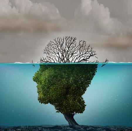 Contaminación del aire contaminado con emisiones tóxicas industriales peligrosas como un árbol en forma de cabeza humana bajo el agua con el gas peligroso matando a la planta con elementos de ilustración en 3D.