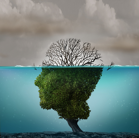 Polluted air contamination with hazardous industrial toxic emissions as a tree shaped as a human head underwater with the hazardous gas killing the plant with 3D illustration elements. Stock Photo