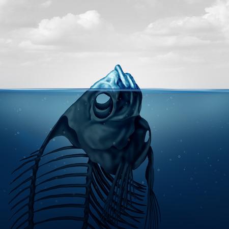 氷山のと気候の概念を変更または汚染水超現実的な概念シンボル スタイルの 3 D イラストで死んだ魚の見えるフローティング スケルトン。