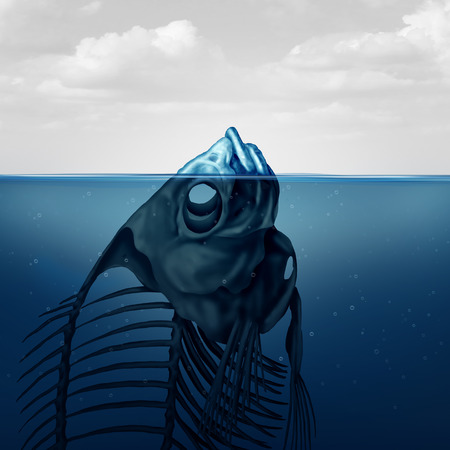 Tip of the iceberg and climate change concept or polluted water surreal conceptual symbol as a visible floating skeleton of a dead fish in a 3D illustration style. Stock Photo