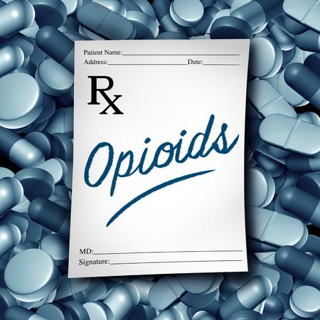 オピオイド医師の処方とオピオイド健康リスク医療薬の危機は、3Dイラスト要素として処方薬鎮痛剤中毒の流行概念として。