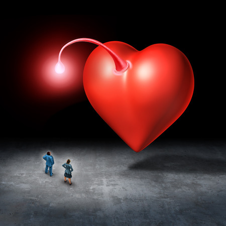 Attracted to love and romantic attraction concept as a relationship idea for valentine or dating idea  as a heart with a light lure with 3D illustration elements.