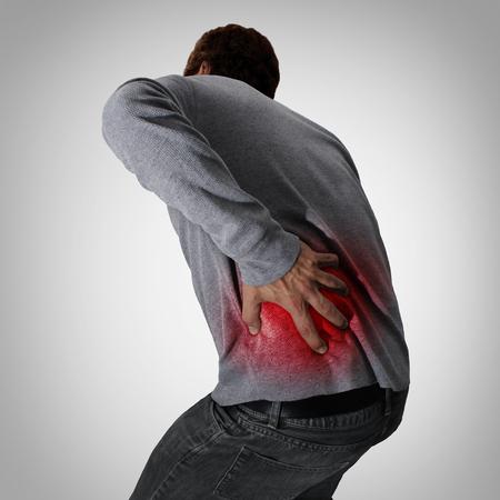 Spierpijn en pijnlijke rug medische concept als een persoon met een ruggengraat letsel of getrokken spieren. Stockfoto
