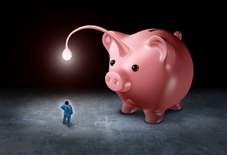 Lure an investor as a businessman being attracted by a bright light as a piggy bank shaped as an angler fish with 3d illustration elements. Stock Photo