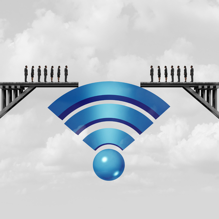 Internet connectivity and web connection concept or online solution symbol as a wifi symbol bridging the gap to connect society with 3D illustration elements. Foto de archivo