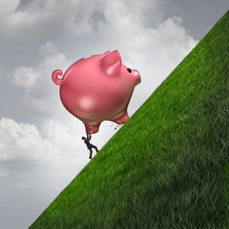 saving money challenge as a person pushing up a piggy bank as a financial budgeting struggle metaphor with 3D illustration elements.