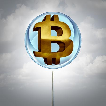 Símbolo de la burbuja de Bitcoin como criptomoneda o moneda criptográfica en un globo y una aguja cerca de estallar el icono inflado como una metáfora financiera con elementos de ilustración 3D. Foto de archivo - 92318477