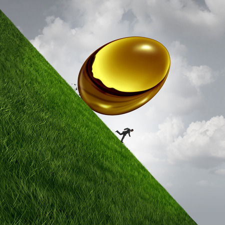 Retirement investment fund trouble crisis concept as a gold or golden egg falling rolling down hill as a financial retiring senior stress symbol with 3D illustration elements.