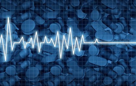 Crise da morte do Opióide e conceito da epidemia do apego do analgésico da prescrição como um flatline da vida do monitor do ecg ou do ecg sobre comprimidos como um problema médico do viciado como elementos de uma ilustração 3D. Foto de archivo - 92318479