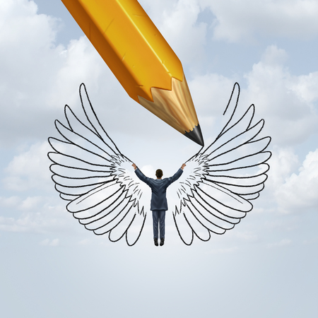 Create success and unlocking human potential as a pencil drawing wings on a person as a metaphor for learning to fly in life with 3D illustration elements.