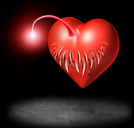 Danger of love and sexually transmitted disease or std risk medicine concept as a valentine heart shaped as an angler fish as a 3D illustration.
