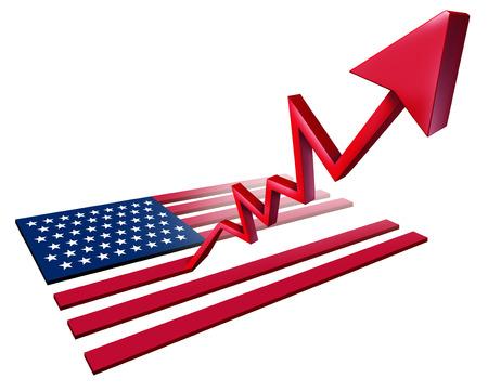 好調な米国経済の成長と経済の米国のGDPは、3Dイラストとして上向きの上昇矢印に変身する米国の旗として増加します。
