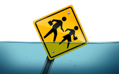 Student problem and academic learning trouble concept as a traffic street sign with students drowning underwater as an education struggle symbol with 3D illustration elements. Фото со стока
