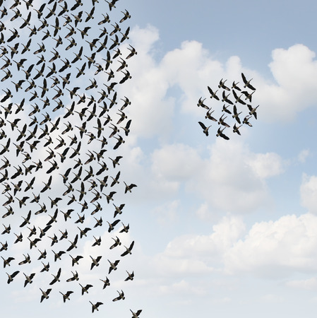 Independent group thinkers concept and new team leadership concept or teamwork individuality as a crowd of flying birds with one small grouping going in the opposite direction in a 3D illustration style.