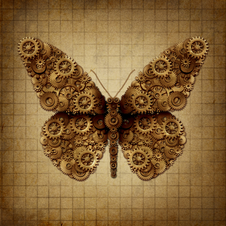 Steam punk butterfly and steampunk grunge winged insect on old vintage parchment paper with 3D illustration elements.