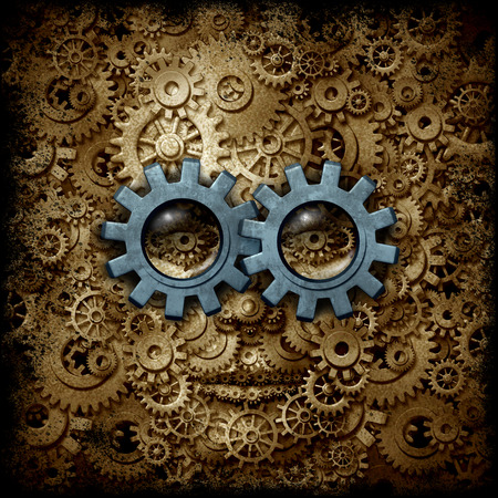 Steam punk or steampunk sci-fi or science fiction human head made of gear and cog machine wheels as a business or psychology metaphor as a 3D illustration, Standard-Bild