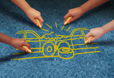 Car crash accident danger safety concept as a group of people drawing two automobiles crashing together as a wreck representing insurance in a 3D illustration style.