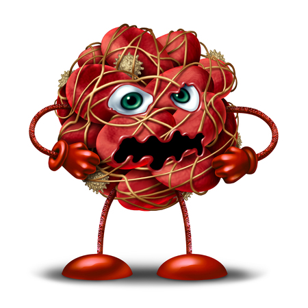 Blood clot character or mascot as a group of clumped human red cells stopping or slowing circulation flow as a 3D illustration on a white background.