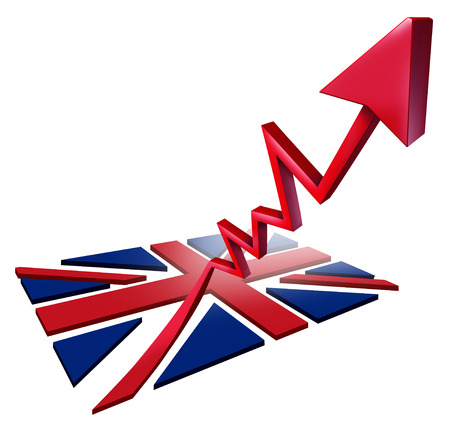 Booming British economy growth and economic Britain GDP increase as a flag transforming into an upward rising arrow as a 3D illustration.