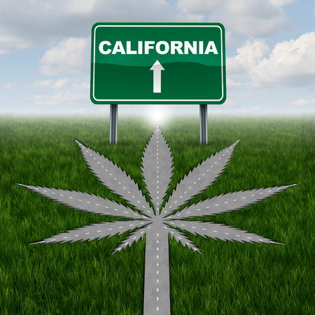 California marijuana concept and californian pot law symbol as a road shaped as a cannabis leaf as a legalization of weed as a drug with 3D illustration elements.