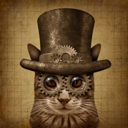 3Dイラスト要素を持つスチームパンクとスチームパンクグランジ猫。