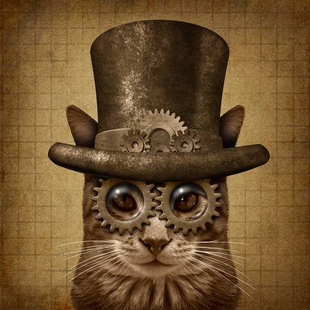 Steampunk and steam punk grunge cat with 3D illustration elements.