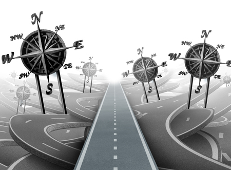 Business navigation success and corporate guidance as a group of roads with compass objects as a 3D illustration.succeed, Stock Photo