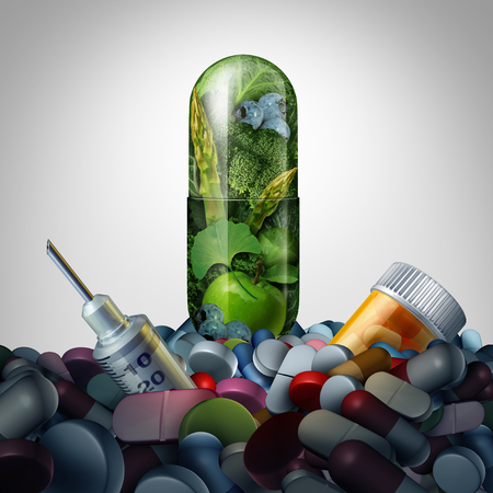 Alternative medicine supplement concept as natural herbal medication in a capsule versus pharmaceutical treatment as a 3D illustration. Фото со стока