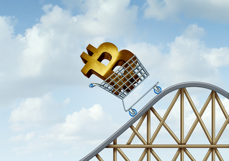 Bitcoin rise and cryptocurrency uncertainty and digital crypto currency as a financial roller coaster ride symbols as a 3D illustration.