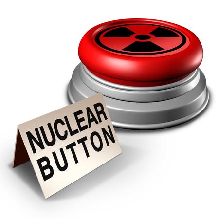 Nuclear button war threat concept as an atomic bomb launcher on a desk as a dangerous missile launch symbol as a 3D illustration.