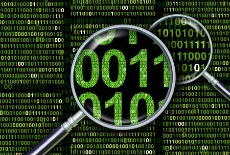 Pesquisa profunda de informações como análise digital de dados forenses e forenses ou bancos de dados subjacentes como uma ilustração 3D.