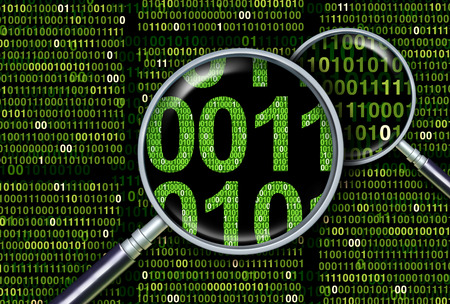 Deep information search as a digital forensics and forensic data analysis or underlying databases as a 3D illustration. Stock Photo
