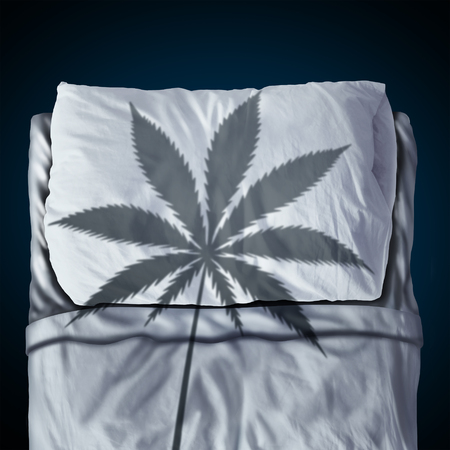 Marijuana and sleep aid or risk as an herbal cannabis use nightcap helping insomnia concept as a health care symbol in a 3D illustration style.