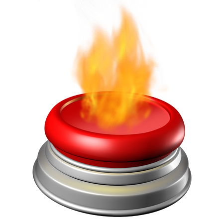 Hot button issue concept as a red trigger with flames as a current controversial topic symbol as a 3D illustration  on a 3D illustration.