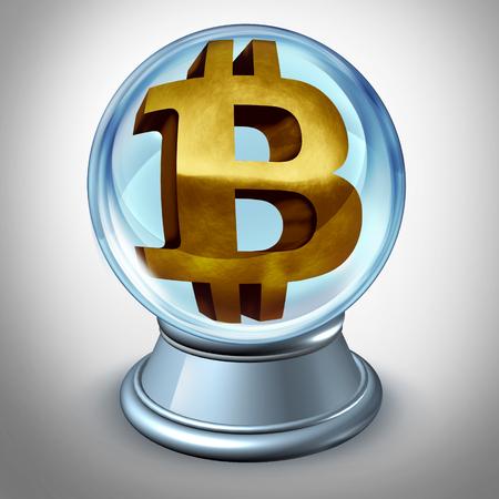 Bitcoin predicción del futuro y la criptomoneda y predicción del valor de la moneda digital como un símbolo financiero dentro de una bola de cristal como una ilustración 3D. Foto de archivo - 92990462