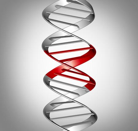 Genomische therapie en gentherapeutische behandeling of genomische bewerking of genetische manipulatie, medisch en wetenschappelijk symbool als een DNA-streng met bewerkte onderdelen als een 3D-afbeelding. Stockfoto