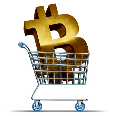 Bitcoin shopping and cryptocurrency commerce as a shop cart with a golden crypto currency symbol as an internet banking and money trading technology as a 3D illustration.