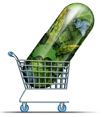 Supplement shopping and homeopathy alternative medicine concept as natural herbal remedy medication market in a capsule in a shop cart as a 3D illustration. Imagens