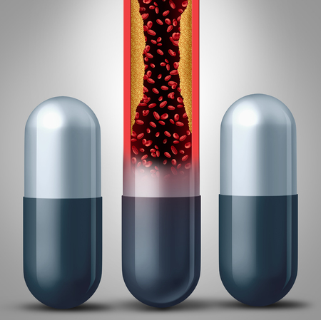 Statin medication concept or prescription statins as pharmaceutical drugs prescribed by a doctor to help with cardiovascular health as a 3D illustration.