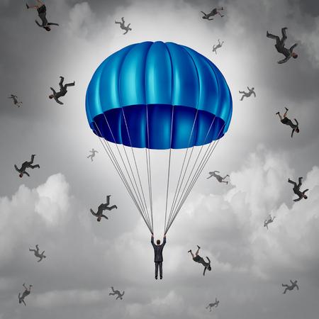 Bedrijfsverzekerings en bedrijfsbeschermingsconcept als zakenman met een blauw valscherm dat wordt bewaard terwijl anderen die met 3D illustratieelementen vallen.
