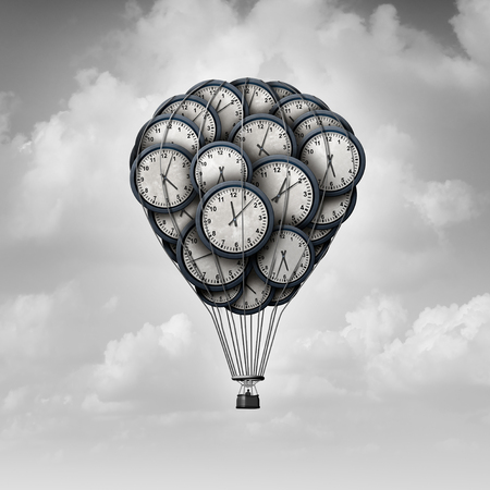 Time journey concept and age exploration idea as a group of clocks shaped as a hot air balloon with 3D illustration elements.