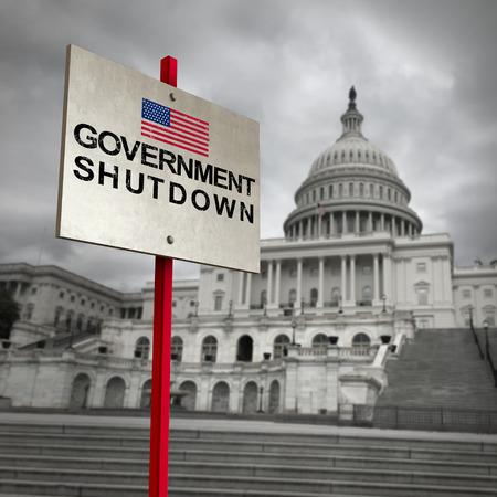 米国政府の閉鎖と米国連邦政府は、3Dイラスト要素を持つ国家財政シンボルとしての支出法案の不一致のために閉鎖されました。
