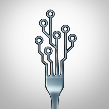 Digital food online and eating diet technology delivery and internet restaurant technology symbol as a dinner fork shaped as a computer circuit as a 3D illustration. Standard-Bild