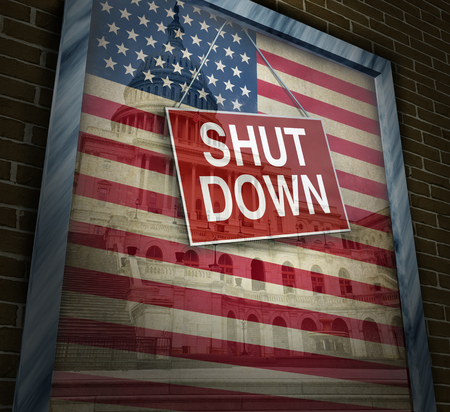 Shutdown government and United States federal system shuts down with a disagreement with republicans and democrats due to spending bill deal failure with 3D uillustration.