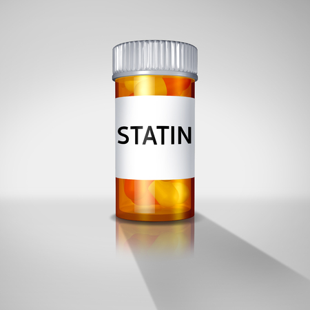 Statin drugs and statins medication concept or prescription pharmaceutical medication drugs prescribed by a doctor to help with cardiovascular health as a 3D illustration. Archivio Fotografico