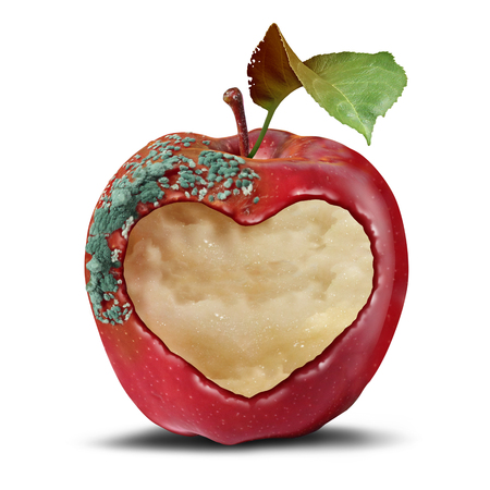 Relationship loss as a breakup and separation psychological mood metaphor as a rotting apple with a heart in a 3D illustration style. Stock Photo