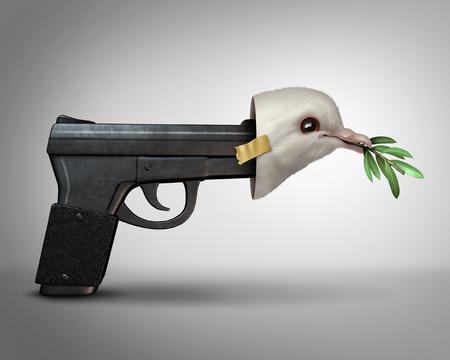 3Dイラスト要素で平和なマスカレードのメタファーとして平和鳩のマスクを身に着けている銃としての素敵な概念のふりをします。