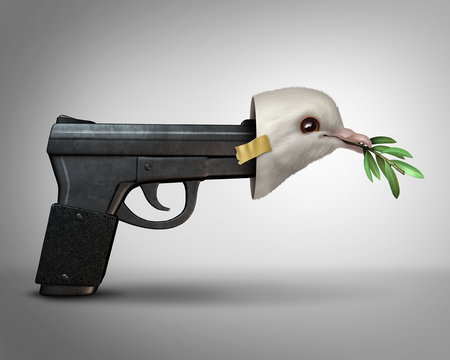 Pretending to be nice concept as a gun wearing a peace dove mask as a metaphor for a danger masquarading as peaceful with 3D illustration elements. Stock Photo