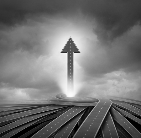 Road arrow and a way to success business concept as a 3D illustration.