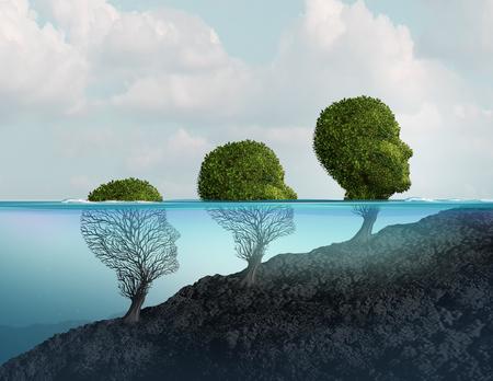 Psychotherapie und Psychologie helfen und entgehen der Verzweiflung und dem emotionalen Stimmungstherapiekonzept in einer Art der Illustration 3D. Standard-Bild - 94177616
